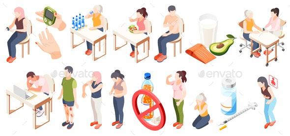 Diabetes Isometric Icon Set - Backgrounds Decorative