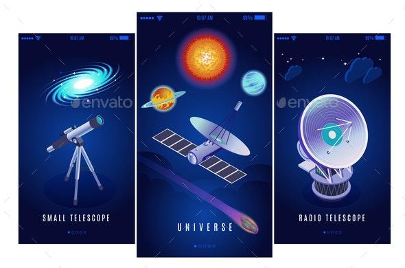 Astrophysics Isometric Banners - Miscellaneous Vectors