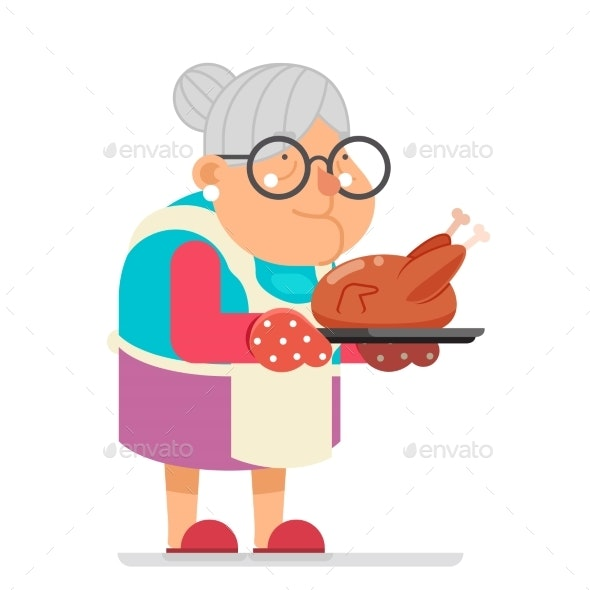 Grandmother with Fried Chicken - Food Objects