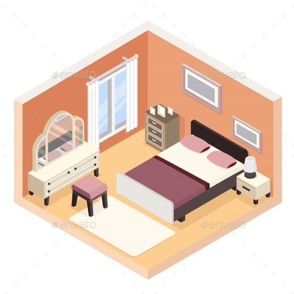 Isometric Modern Bedroom Furniture Room Cutaway - Buildings Objects