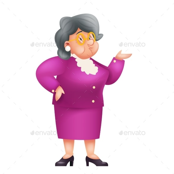 Old Female Teacher Granny Character - People Characters