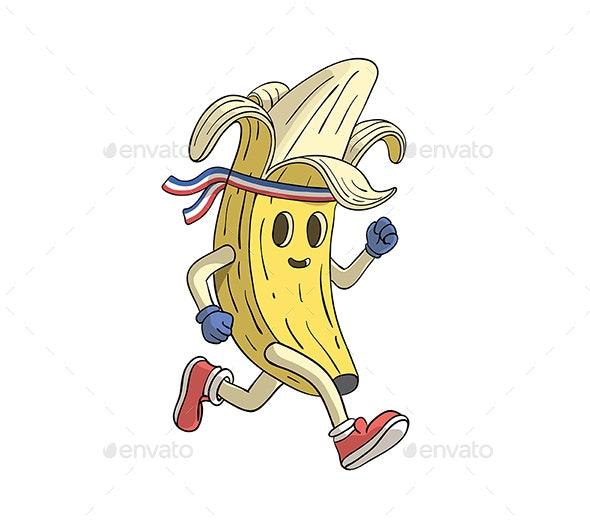 Banana Runner Cartoon Character - Food Objects