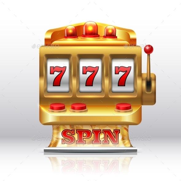 777 Jackpot Slot Machine Golden Casino Spin - Man-made Objects Objects