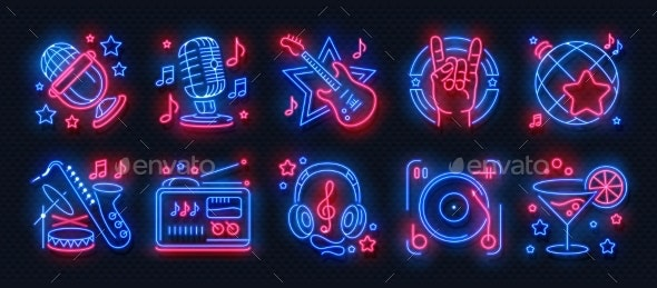 Neon Party Icons - Backgrounds Decorative