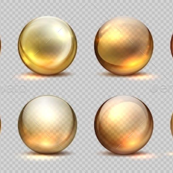 Collagen Golden Balls Realistic Cosmetic Oil