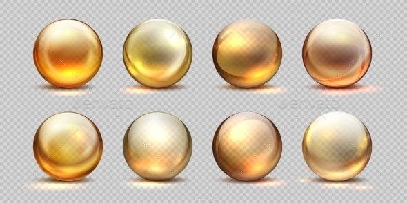 Collagen Golden Balls Realistic Cosmetic Oil - Miscellaneous Vectors