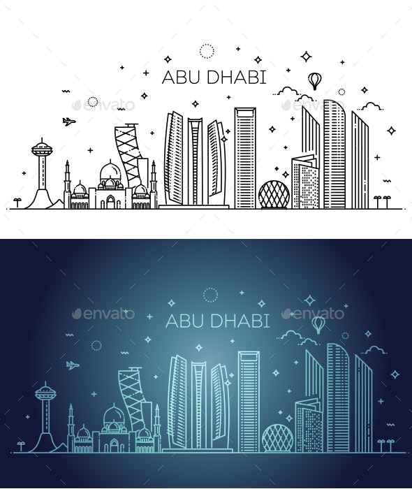 Abu Dhabi City Line Art Vector Illustration - Buildings Objects
