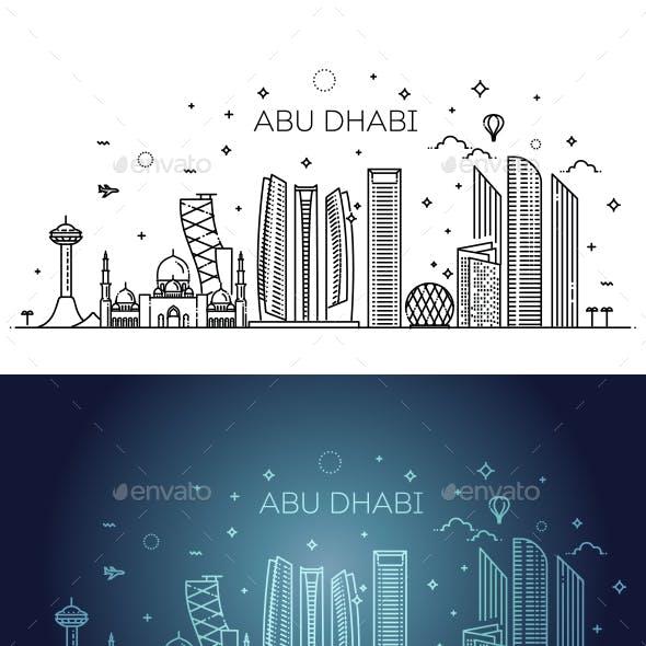 Abu Dhabi City Line Art Vector Illustration