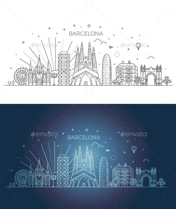 Barcelona Skyline Spain - Buildings Objects