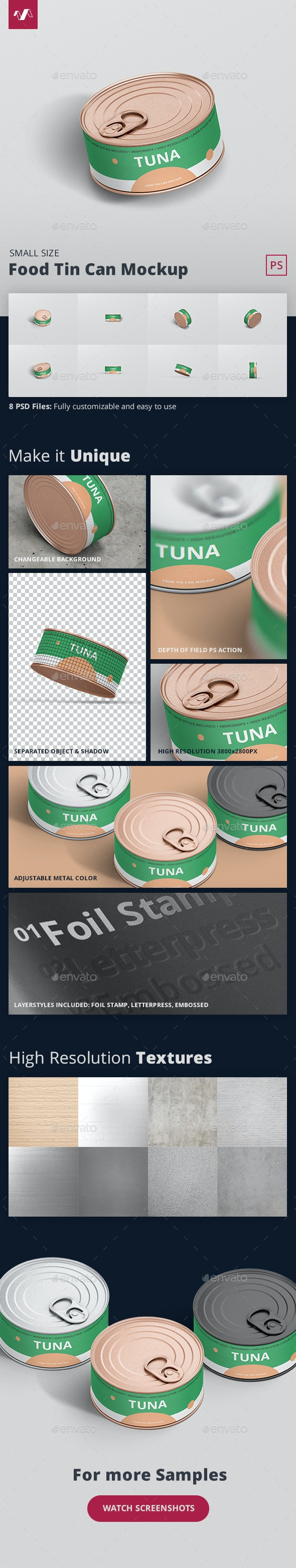 Food Tin Can Mockup Small Size - Food and Drink Packaging