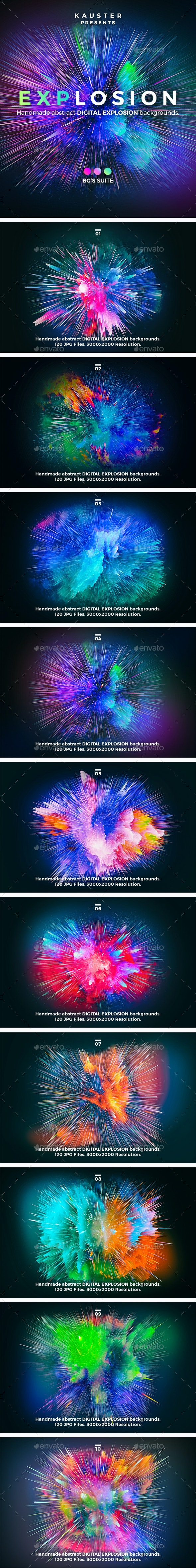 Digital Explosion Backgrounds - Abstract Backgrounds