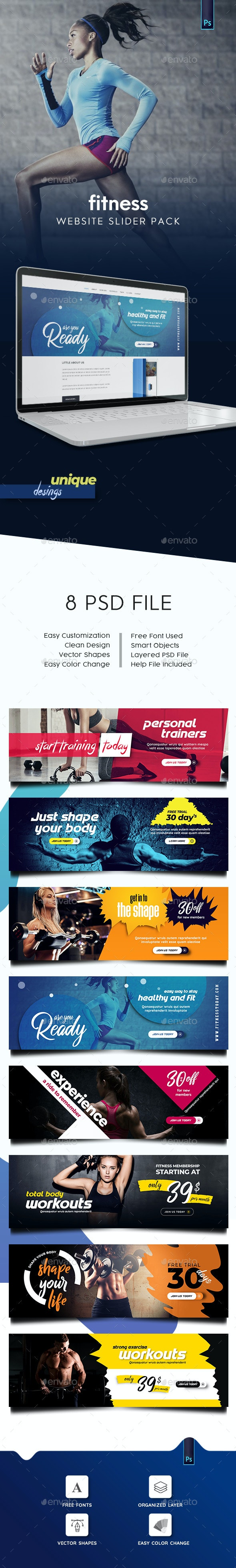 Fitness Slider Pack - Sliders & Features Web Elements