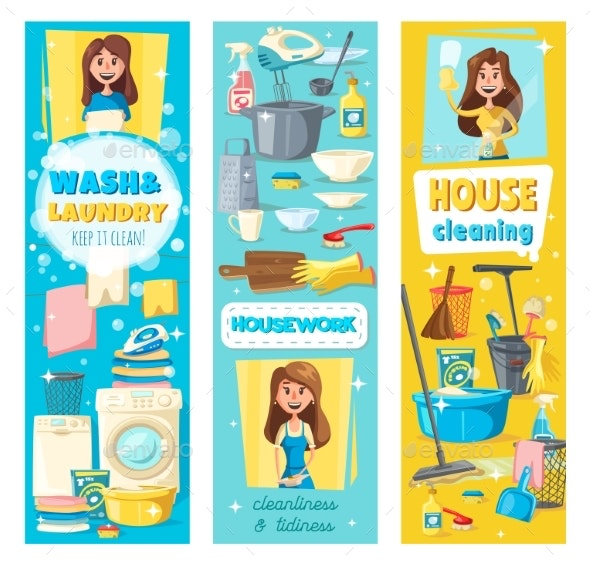 House Cleaning Laundry and Washing - People Characters