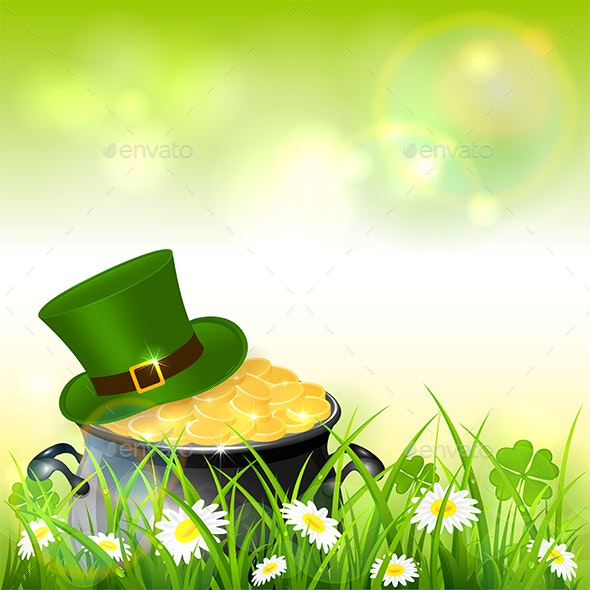 Patrick Day Green Nature Background with Gold and Hat - Miscellaneous Seasons/Holidays
