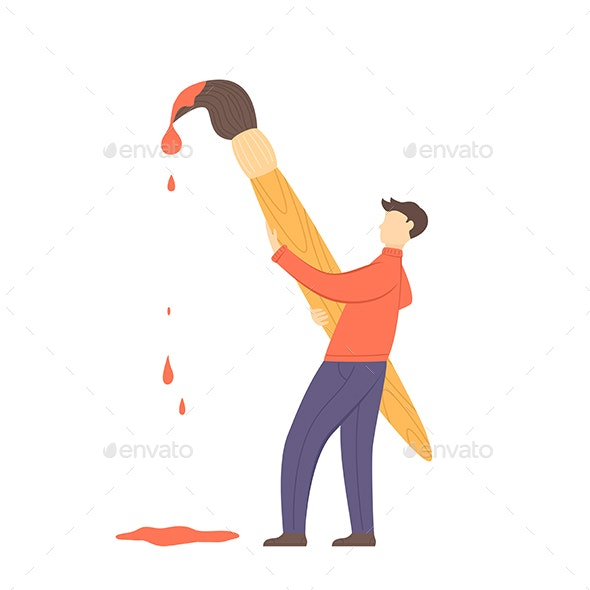 Man Holding a Brush with Paint - People Characters