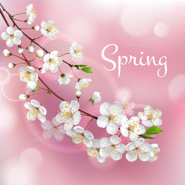 Blossoming Tree Branches Spring Template - Backgrounds Decorative