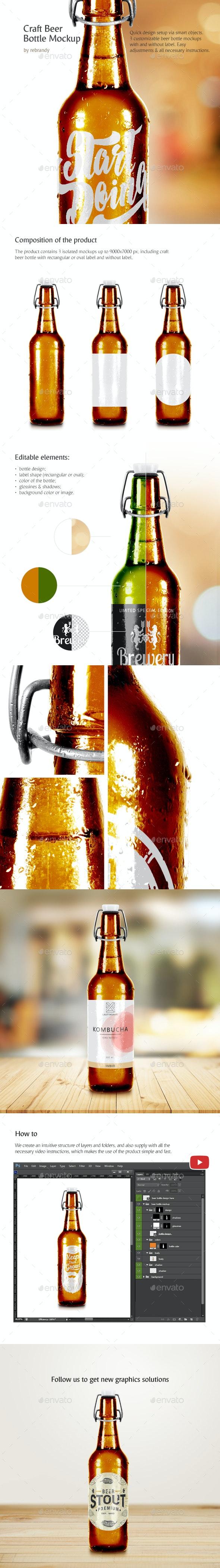 Craft Beer Bottle Mockup - Food and Drink Packaging