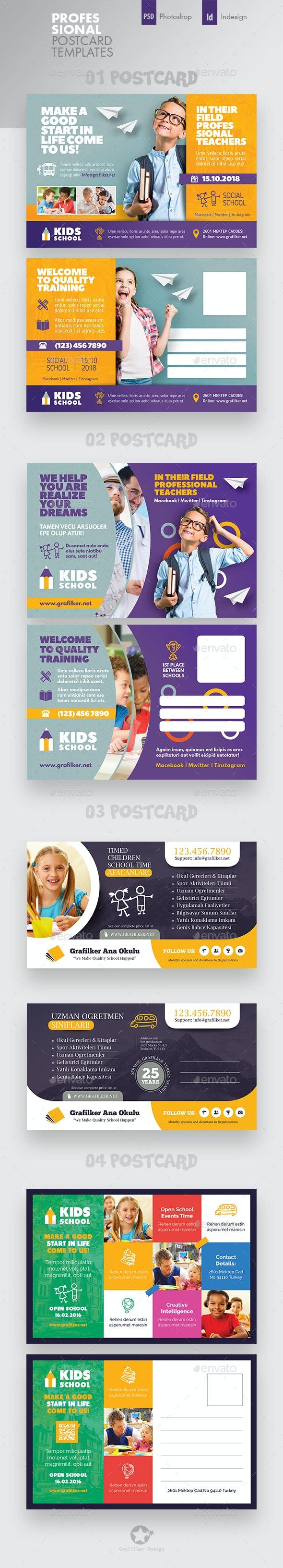 Kids School Postcard Bundle Templates - Cards & Invites Print Templates