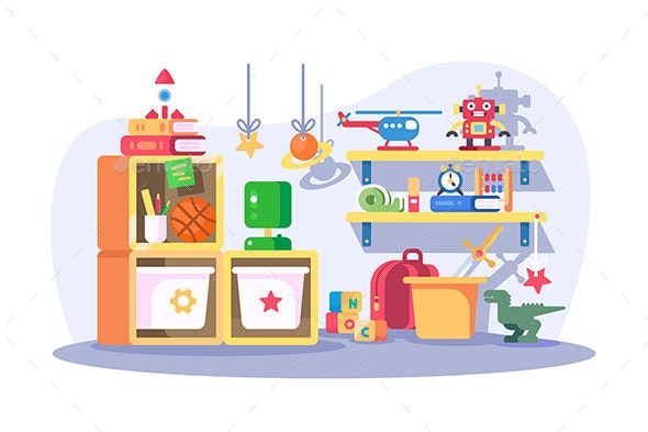 Children Room Modern Interior with Toys - Man-made Objects Objects