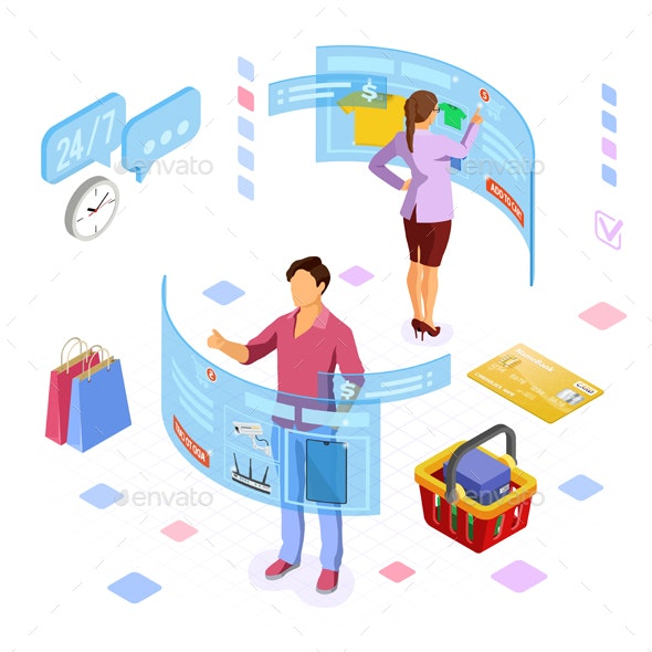 Isometric Virtual Augmented Reality Shopping - Retail Commercial / Shopping
