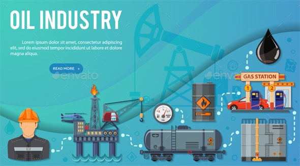Oil Industry Banner Infographics - Industries Business