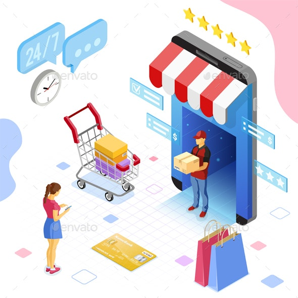 Online Internet Shopping Delivery Isometric Concept - Web Technology