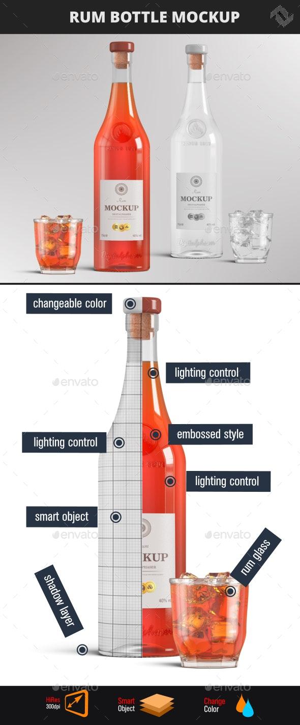 Brandy Rum Bottle Mockup - Food and Drink Packaging