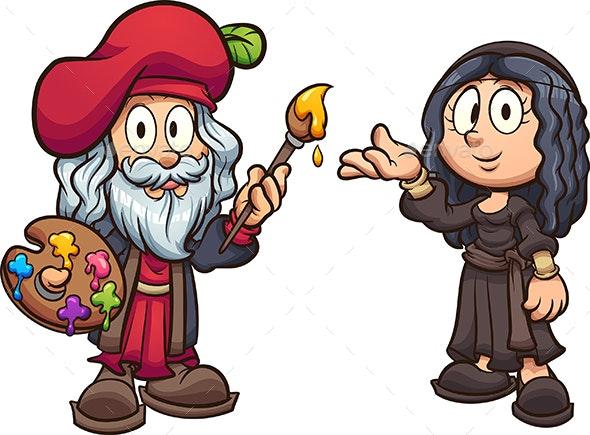 Kids Da Vinci and Mona Lisa - People Characters