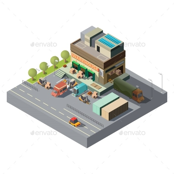 Vector Isometric Warehouse, Trucks for Shipping - Buildings Objects