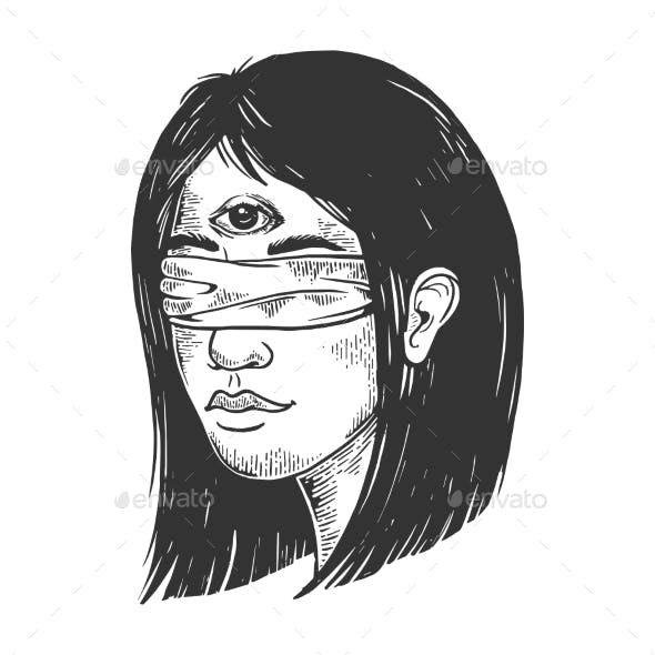 Blindfolded Girl with Three Eyes Engraving Vector