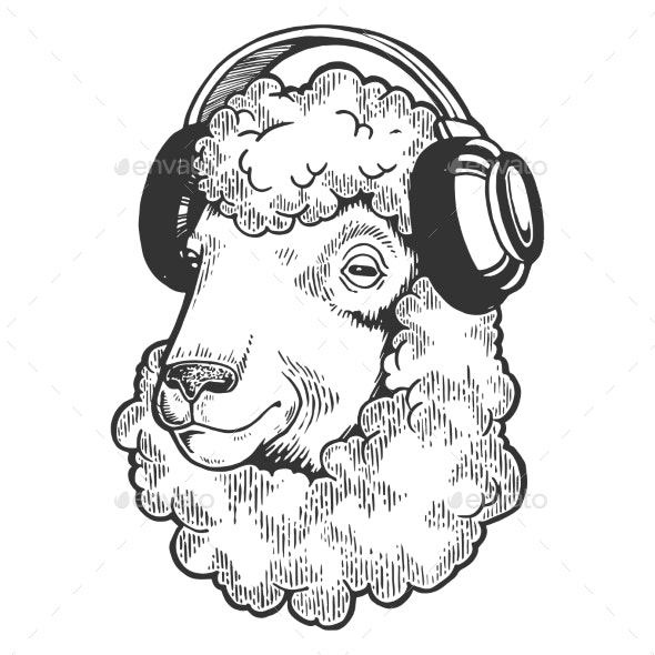 Sheep Animal in Headphones Engraving Vector - Animals Characters