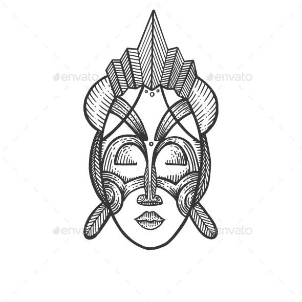 African Mask of Savages Sketch Engraving Vector - Miscellaneous Vectors