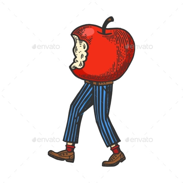 Bitten Apple Walks on Its Feet Color Sketch - Miscellaneous Vectors