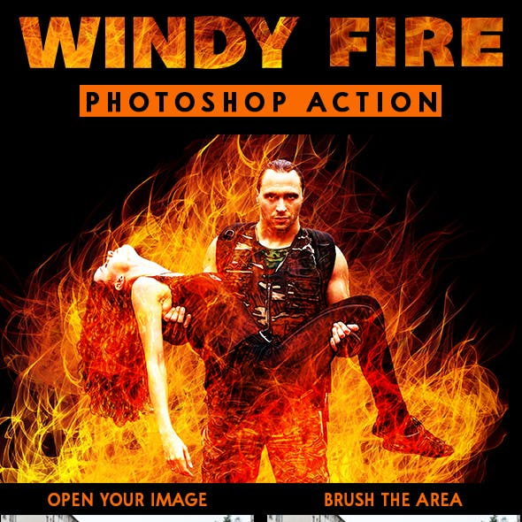 Windy Fire Photoshop Action