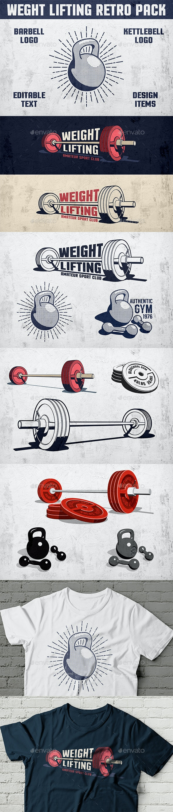 Weight Lifting Retro Pack - Sports/Activity Conceptual