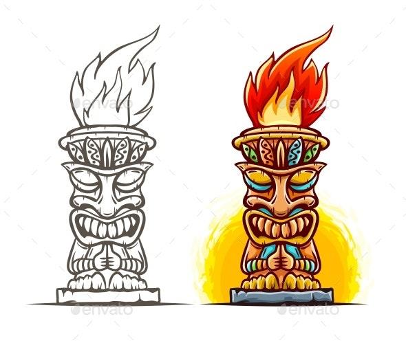 Tiki Totem Cartoon Statue - Miscellaneous Characters