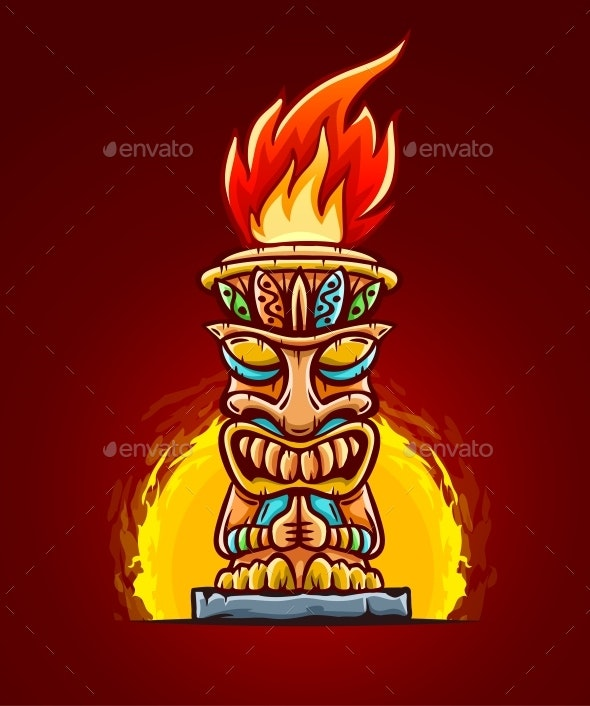 Tiki Traditional Hawaiian Tribal Mask with Fire - Miscellaneous Characters
