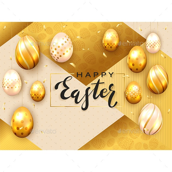 Golden Easter Eggs on Gold Background - Miscellaneous Seasons/Holidays