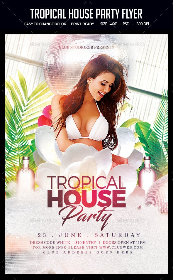 Tropical House Party Flyer - Clubs & Parties Events
