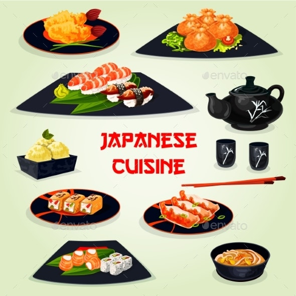 Japanese Cuisine Dinner with Dessert Cartoon Icon - Food Objects