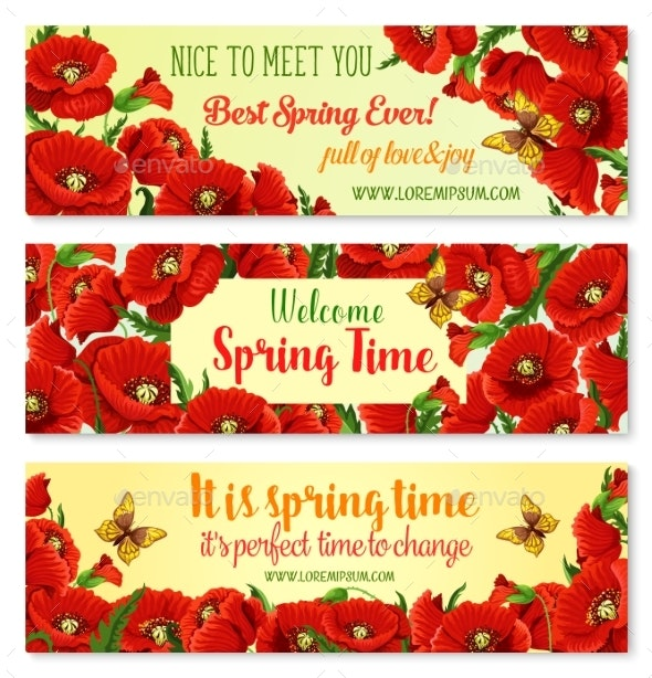 Spring Flower Frame for Springtime Banner Template - Flowers & Plants Nature