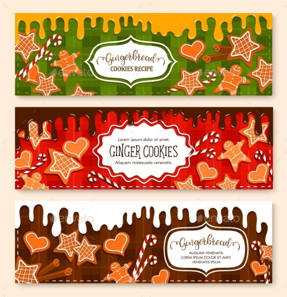 Vector Banners Set of Gingerbread Cookies Bakery - Food Objects