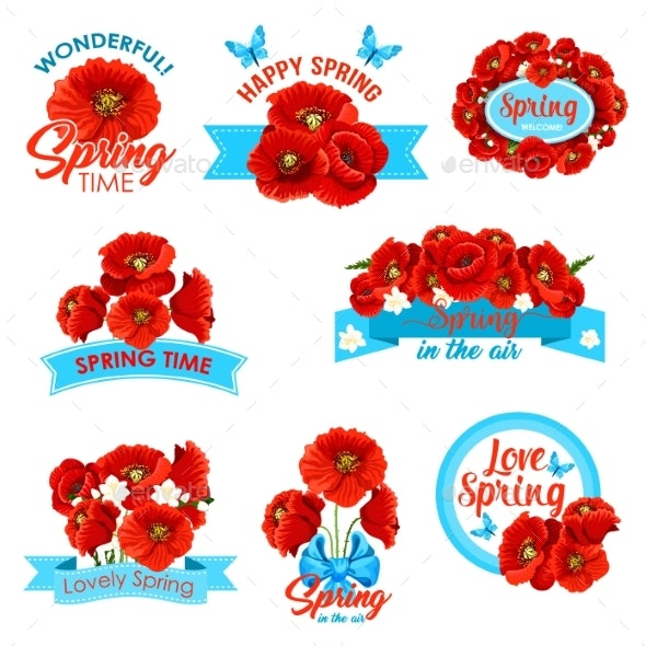Happy Spring Springtime Holidays Floral Icon Set - Flowers & Plants Nature
