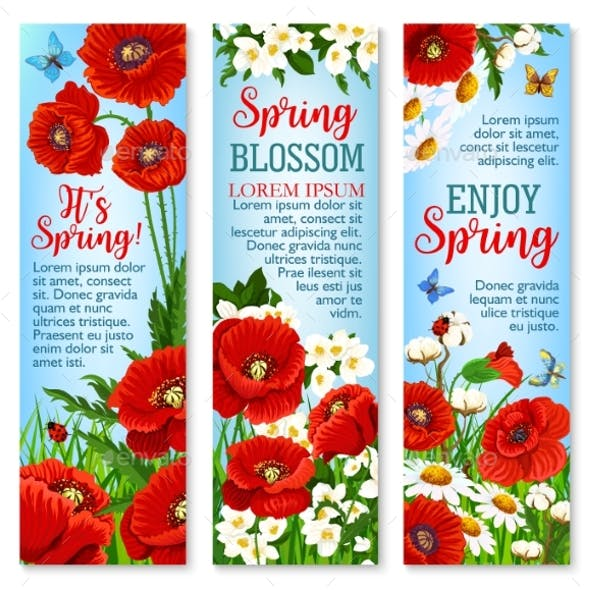 Spring Flower Field for Greeting Banner Template
