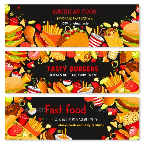 Vector Banners for Fast Food Restaurant - Food Objects
