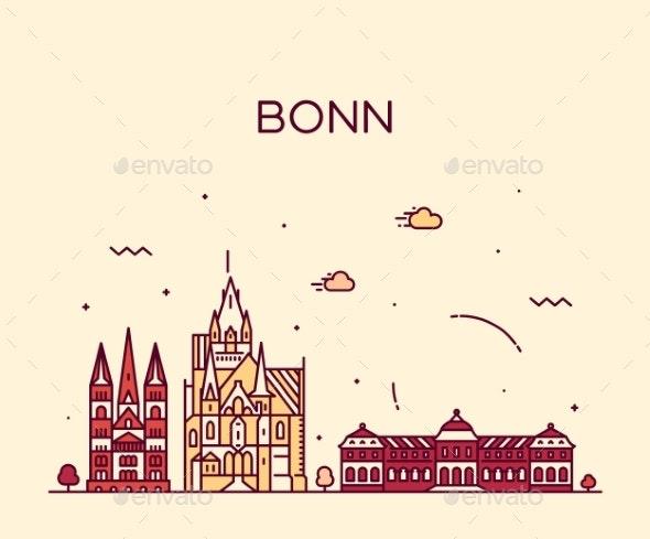 Bonn Skyline North Rhine Westphalia Germany Vector - Buildings Objects