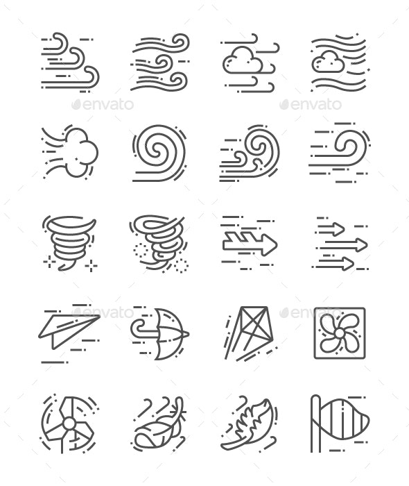 Wind Line Icons - Miscellaneous Characters