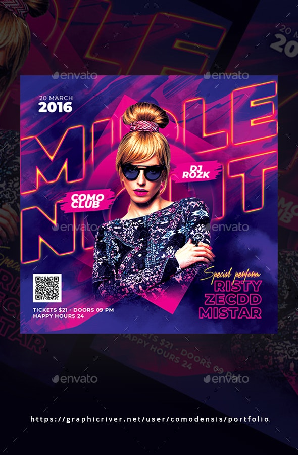Middle Night Party Flyer - Clubs & Parties Events