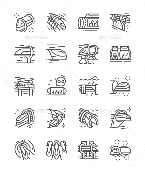 Vacuum Train Line Icons - Technology Icons