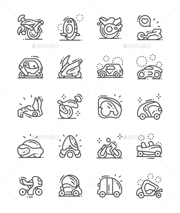 Transport of the Future Line Icons - Technology Icons